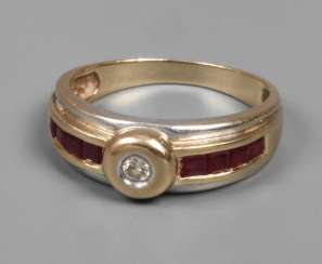 Ladies ring with brilliant and rubies