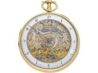 Pocket watch: figure automaton Jacquemart of particularly high-quality execution, and the Museum state of preservation, signed Breguet et Fils, Paris, CA. 1820