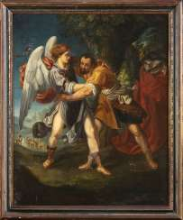 Fight of Jacob with the ANGEL, Flemish school, 17th century, OIL ON CANVAS - Great Painting