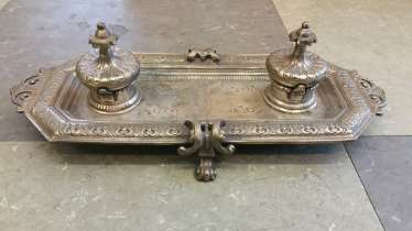 Antique silver Plated Desk set double inkwell