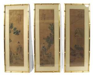 Drei Malereien mit figürlichen Szenen