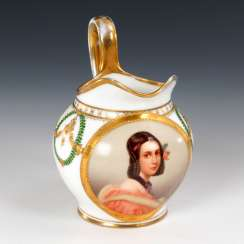 Milk jug with portrait of a lady, HUNTER,