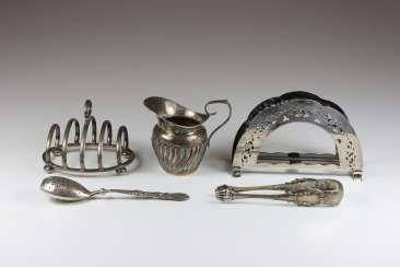 Mixed Lot Of Silver, 5 Parts: 1. Napkin holder, hallmarked 835, half moon/ crown