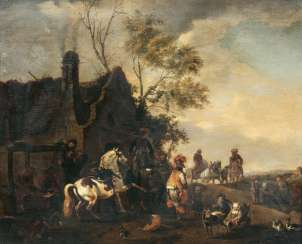 At The Blacksmith's. Philips Wouwerman, in the nature of the