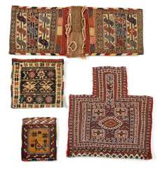 Four flat-woven bags, sumakh and kilim