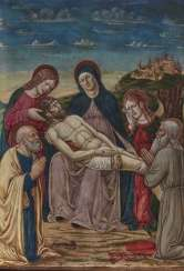 Lamentation over the dead Christ with saints Peter and Jerome