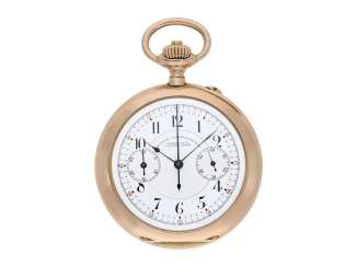 Pocket watch: particularly large, red gold chronograph with register, A. Lange & Söhne No. 54691, Glashütte 1908, with extract from the archives