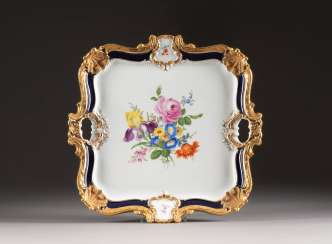 LARGE SQUARE MAGNIFICENT TRAY WITH FLOWER PAINTING
