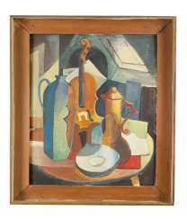 Cubist early 20. century, still life, oil on board, framed, monogrammed