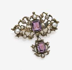 Brooch with diamonds, amethysts and pearls