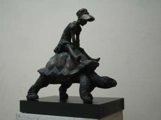 Girl on a turtle