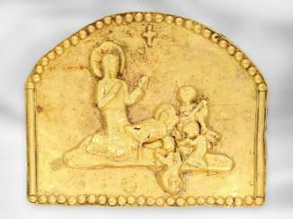 Relief: early antique gold relief depicting the birth of Christ, probably around 2000 years old