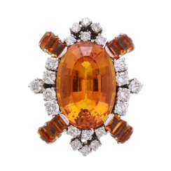 Ladies ring with citrines and brilliant diamonds