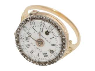 Ring watch: Museum Golden ring watch with diamond trim, Louis XV-dial, original box and original key, Paris, around 1780