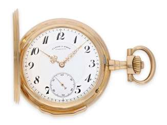 Pocket watch: exquisite, extra-large red-gold Louis XV gold savonnette, A. Lange & Sohne, top quality 1A, No. 46902, Glashütte CA. 1905, with the master excerpt from the book