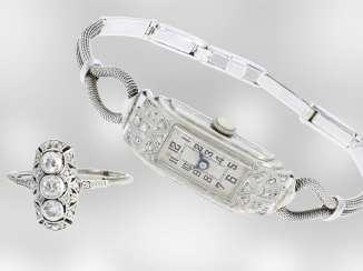 Wrist watch/Ring: very nice Art Deco jewelery, studded with diamonds, wrist watch and Ring, approx 0.33 ct, platinum and 18K Gold