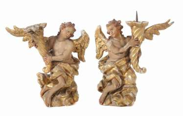 Carver of the 18th century. Century, Pair of angels candle holder