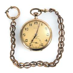 Golden pocket watch with watch chain, MOVADO