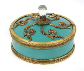 Lidded box with Brass overlay