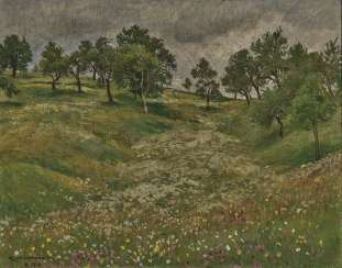 "Hans Richard Volkmann, Flowering Meadow Hollow - ""Field Path"""