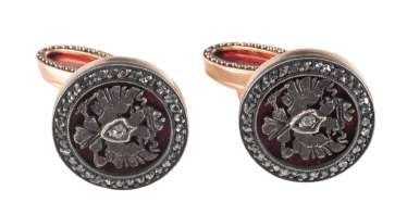 PAIR OF GUILLOCHÉ ENAMEL CUFFLINKS WITH DOUBLE EAGLES 2nd half of the 20th century gold