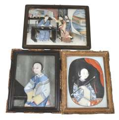 Three behind-glass paintings with Portraits of ladies