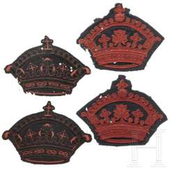 Four crowns for Prince Amedeo d'Aosta's saddlecloths, 20th century