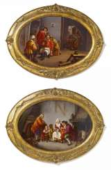 Pair of large porcelain paintings with Genre - and the tavern scene
