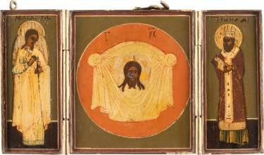 TRIPTYCH WITH THE MANDYLION, THE GUARDIAN ANGEL AND ST. JOHN CHRYSOSTOM