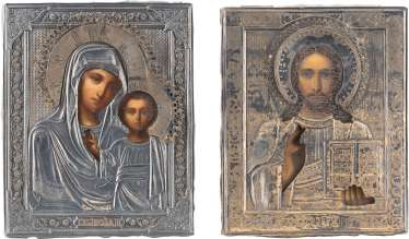 PAIR OF WEDDING ICONS WITH SILVER-OKLAD: THE MOTHER OF GOD OF KAZAN AND CHRIST PANTOCRATOR