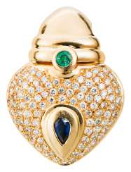 Heart pendant clip with emerald and sapphire