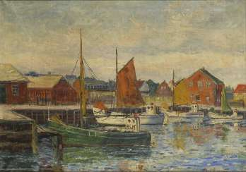 RASMUSSEN, Carl: fishing boats in the port