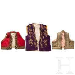 Three embroidered vests, Balkan Turkish, 1st half of the 20th century