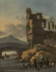 Southern ruins landscape with peasant figure staffage