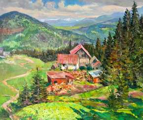 Moment in the Carpathians Painting by Aleksandr Dubrovskyy