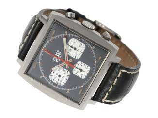 Watch: sought-after vintage Heuer Monaco Chronograph in near mint condition, the rear is still glued, Ref.73633 Valjoux 7736, CA. 1972