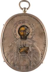 ICONS PENDANT WITH ST. ALEXANDER NEVSKY SILVER OKLAD