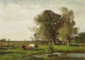 Meadow landscape with a cowherd and his flock