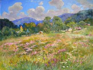 Blooming meadow Painting by Aleksandr Dubrovskyy