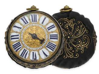 Pocket watch: important, early, early, early Oignon with exceptional housing decoration and Apparent self-aligning, fantastic original condition, with original key, Merlier Paris around 1700