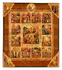Feast day icon with the events of Easter