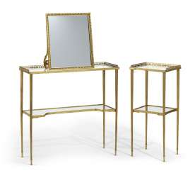 TWO GILT-METAL AND GLASS TWO-TIERED SIDE TABLES