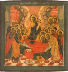 LARGE-FORMAT ICON WITH THE DORMITION OF THE MOTHER OF GOD FROM A CHURCH ICONOSTASIS