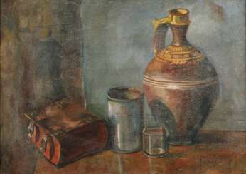 Büttner, still life with book and vessels