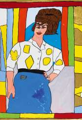 Woman in white blouse with yellow pattern