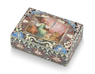 A CLOISONNÉ AND EN PLEIN ENAMEL SILVER-GILT BOX
