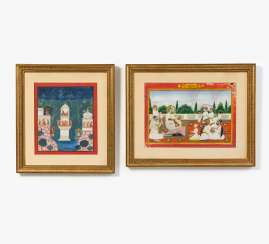 Two paintings with Maharadja and Krishna