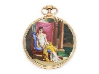 Pocket watch: big gold Lepine with enamel painting and Repetition, No. 3311, France, CA. 1810