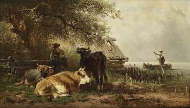 A shepherd with cattle on the lake shore, A young woman approaching in the rowing boat. , Voltz, Johann Friedrich 1817 Nördlingen - 1886 Munich