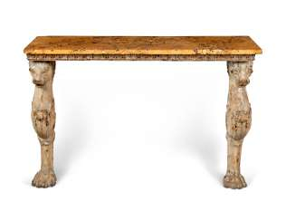 A REGENCY WHITE-PAINTED AND PARCEL-GILT WOOD AND COMPOSITION CONSOLE